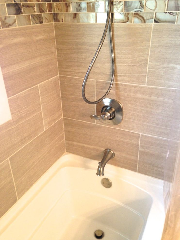 Lowes Virginia Beach   Transitional Bathroom Also Bathroom Bathtub Shelf Brushed Nickel Countertop Glass Mosaics Hall Bath Hardware Intergrated Sink Lowes Raised Panel Vanity Rectangle Sink Remodel Virginia Beach