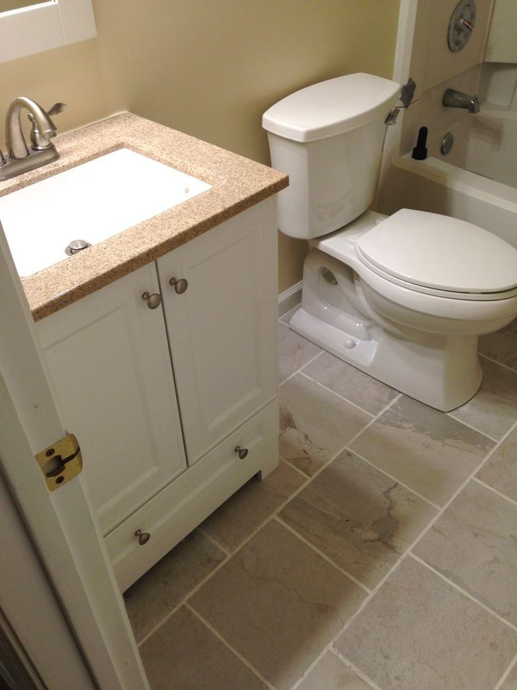 Lowes Virginia Beach   Transitional Bathroom  and Accessories Bathroom Beige Guest Bathroom Hall Bathroom Kohler Lighting Mirror Paint Remodel on a Budget Resale Value Toilet Towel Bar Vanity White