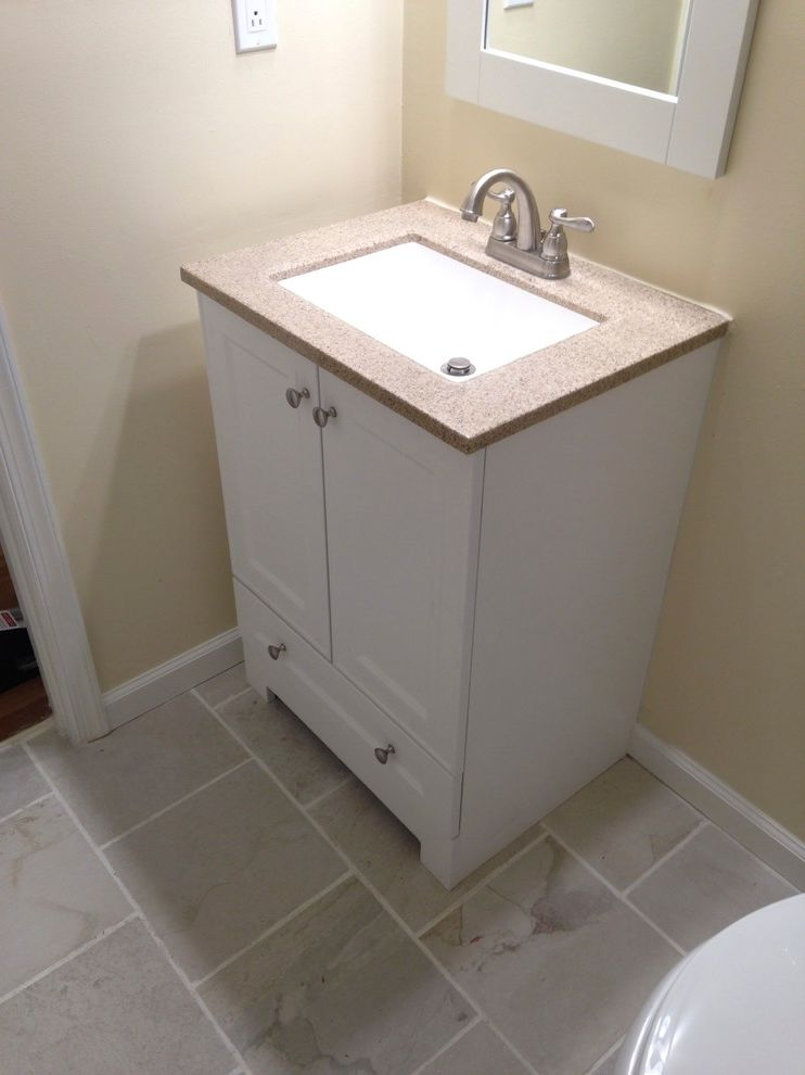 Lowes Virginia Beach Transitional Bathroom And Accessories Bathroom Beige  Guest Bathroom Hall Bathroom Kohler Lighting Mirror