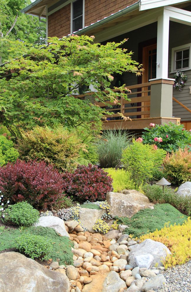 Lowes Ware Ma with Traditional Landscape  and Bainbridge Island Boulders Colorful Covered Entry Dry Creek Entrance Gravel Ground Cover Naturalistic Porch Stones Wood Slat Railing