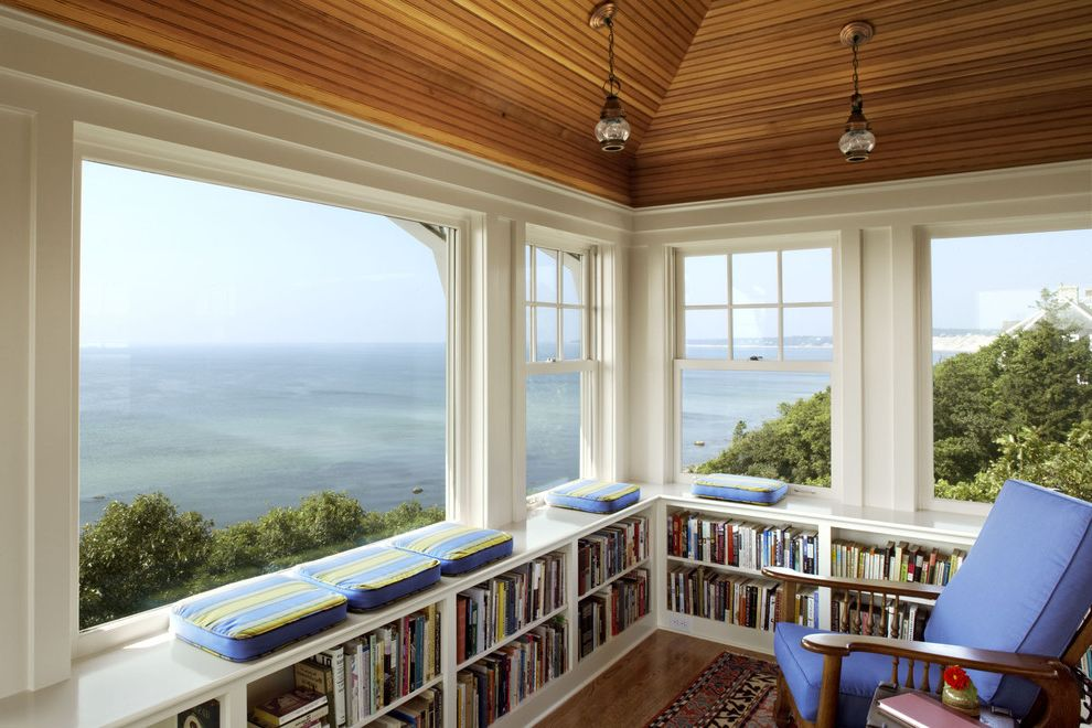 Lowes Warwick Ri   Traditional Home Office  and Bookcase Bookshelves Built in Shelves Double Hung Windows Library Lookout Ocean View Panoramic View Reading Nook Sloped Ceiling Study Vaulted Ceiling View Waterfront White Molding Window Seat Wood Ceiling