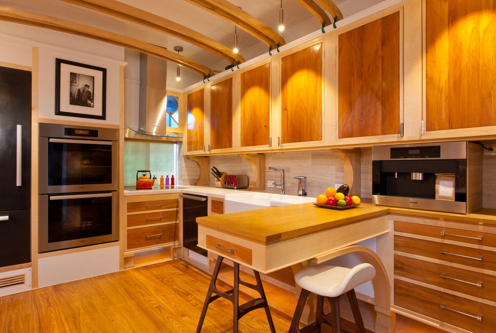 Lowes Warwick Ri with Eclectic Kitchen  and Art Nouveau Kitchen Built in Ovens Carbon Fibre Sycamore Pear Satinwood El Clean Counter Microwave Decorative Beams Double Oven Eat in Kitchen Farm Sink Low Back Bar Stools Peninsula Red Toaster Wall Ovens