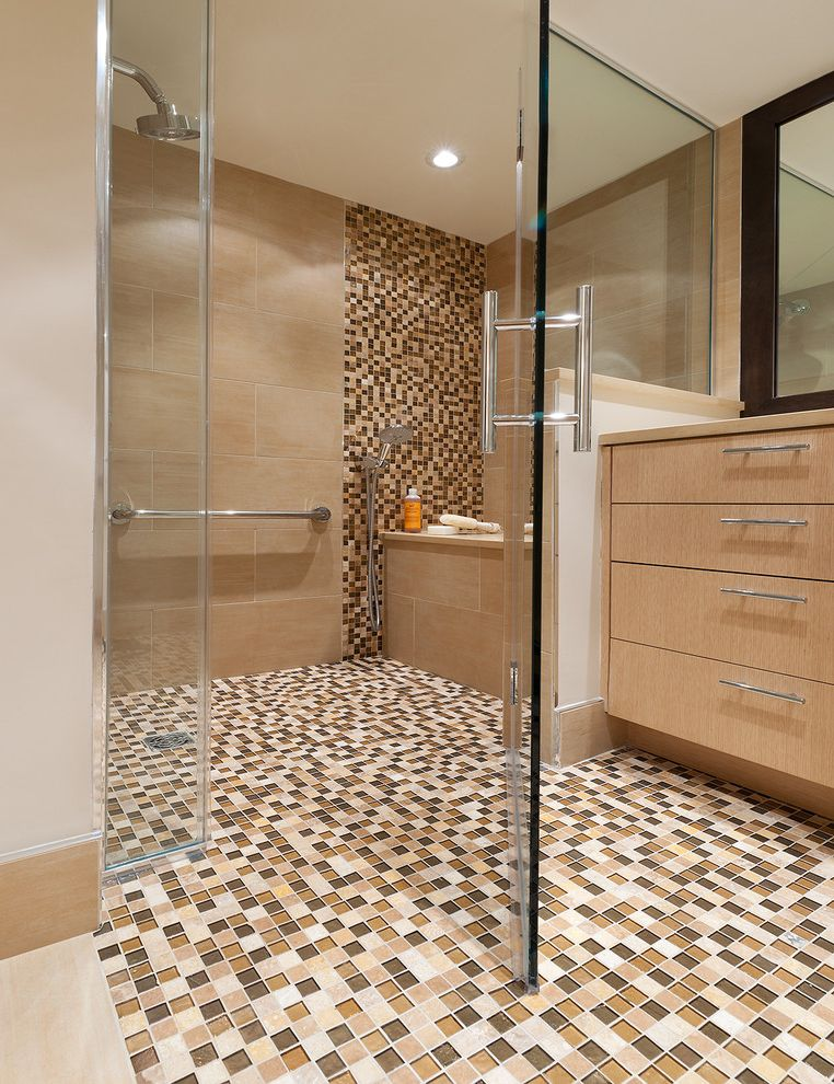 Lowes Williamsburg Va   Contemporary Bathroom  and Accent Tile Ceiling Lighting Frameless Shower Door Mosaic Tile Neutral Colors Recessed Lighting Shower Bench Shower Tile Tile Floor Tile Stripe Tile Walls Wood Cabinets