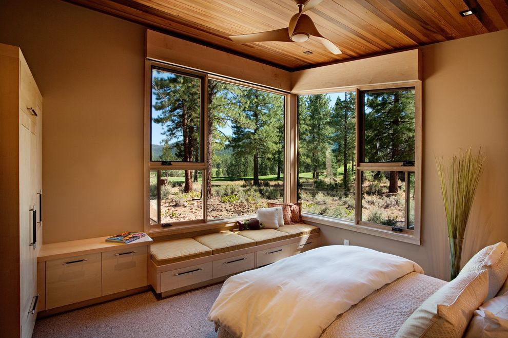Lowes Window Film with Rustic Bedroom Also Built in Storage Ceiling Fan Ceiling Lighting Closets Corner Windows Neutral Colors Picture Window Recessed Lighting Storage Bench Under Bench Storage Window Seat Wood Ceiling