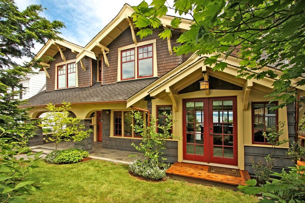 Lp Smartside Colors with Craftsman Exterior  and Covered Porch Dormer Windows Double Glass Doors Grass Seattle Craftsman Shingle Siding