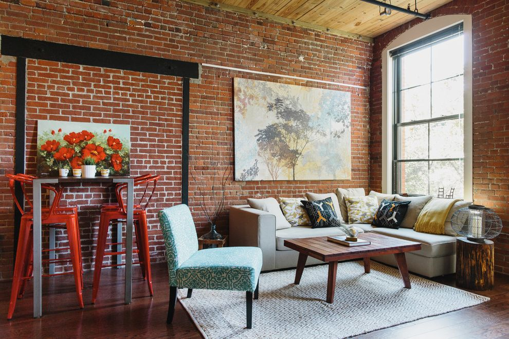 Lucys Furniture with Industrial Living Room and Black Framed Windows Boston Color Etsy Exposed Brick Wall Loft Industrial Loft Painting Red Red Bar Stools Sectional Sofa Tall Ceilings Wooden Coffee Table