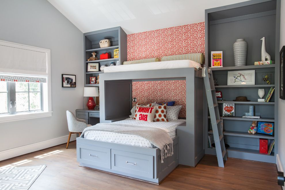 Lucys Furniture with Transitional Kids and Accent Wall Americana Bright Bunk Bed Colorful Custom Bunk Bed Gray and Red Modern Furniture Transitional Under Bed Storage Wallpaper