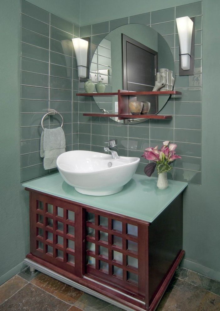 Lumber Liquidators Complaints   Asian Powder Room Also Asian Cabinetry Cherry Glass Glass Tile Mahogany Mirror Sconce Shelves Stone Floors Vessel Sink