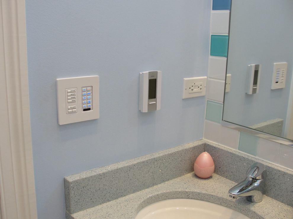 Lutron.com   Contemporary Bathroom Also Audio Bathroom Blue Control Custom Design Floor Glass Heat Heated Lighting Lutron Music Nu Heat Streaming Tile Vanity