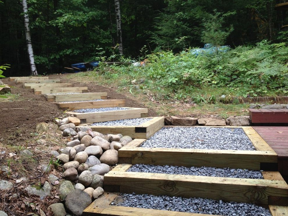 Lynch Landscaping   Contemporary Landscape  and Access Beautiful Landscape Box Steps Central Maine Custom Landscape Exterior Stairs Exterior Steps Gravel Steps Lake Access Lakefront Lots of Trees Lynch Landscaping Maine Outdoor Living Stone Sustainable