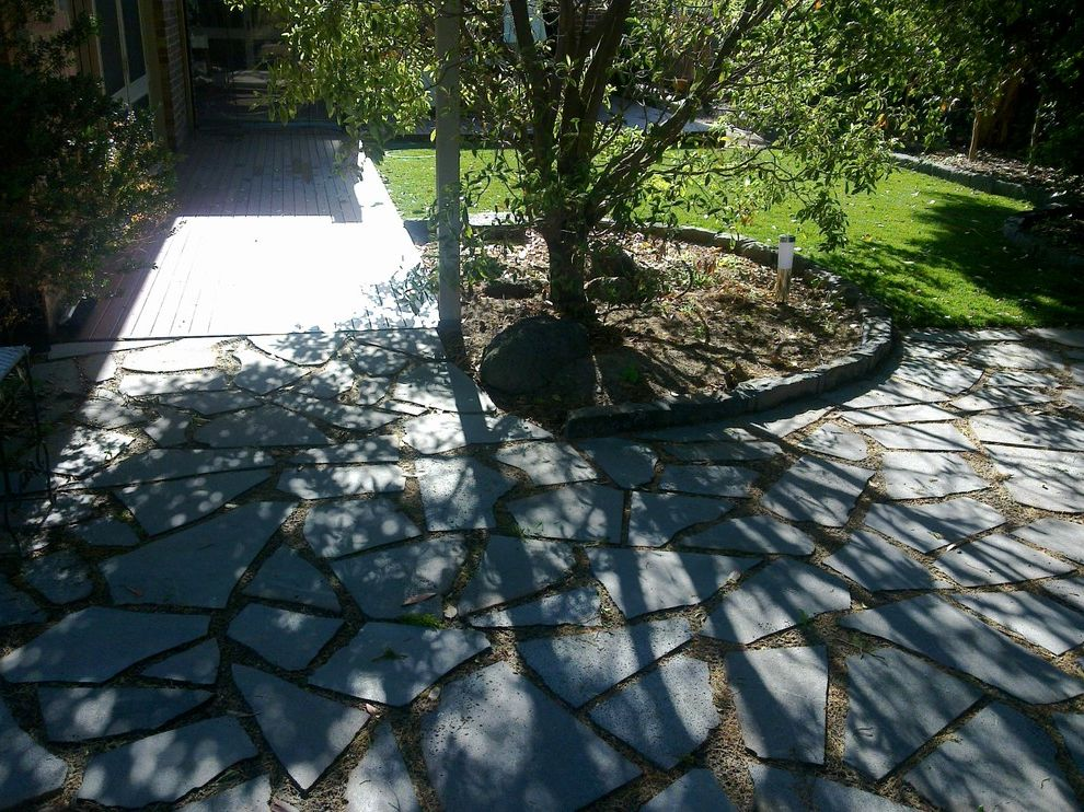 Lynch Landscaping   Traditional Landscape Also Bluestone Crazy Paving Bluestone Edging Fake Grass Random Paving Spotted Gum Deck