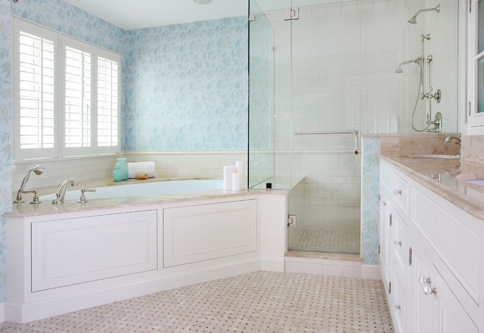 Maddens Spa   Traditional Bathroom  and Angle Bathtub Bathroom Tile Bathtub Blue Corner Tub Floor Tile Frameless Shower Glass Shower Mosaic Tile Shower Bench Shower Tile Shutters Subway Tile Wainscoting Wallpaper White Cabinets