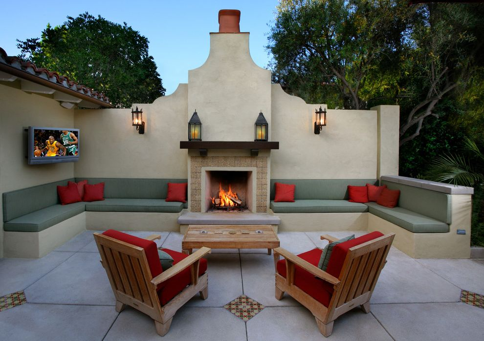 Madison Seating Review   Mediterranean Patio  and Built in Bench Seat Chimney Lanterns Mantel Outdoor Fireplace Patio Red Accents Red Pillows Seat Cushions Southwest Teak Tile Inlay Tv Wood Outdoor Furniture
