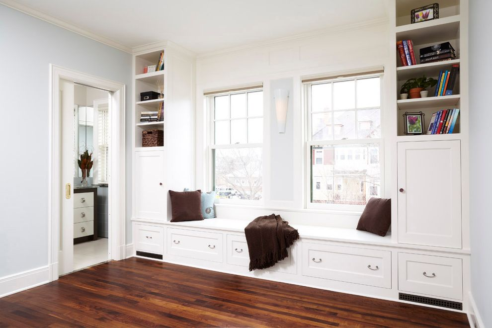 Madison Seating Review with Traditional Bedroom Also Baseboards Built in Seating Dark Floor Gray Walls Pocket Door Sconce Sliding Door Wall Lighting White Wood Window Seat Wood Flooring Wood Trim