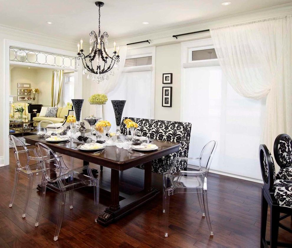 Magnolias Burlington with Traditional Dining Room Also Airy Black Black and White Burlington Classic Clean Contemporary Damask Eclectic Formal French Interior Design Kitchen Lucite White