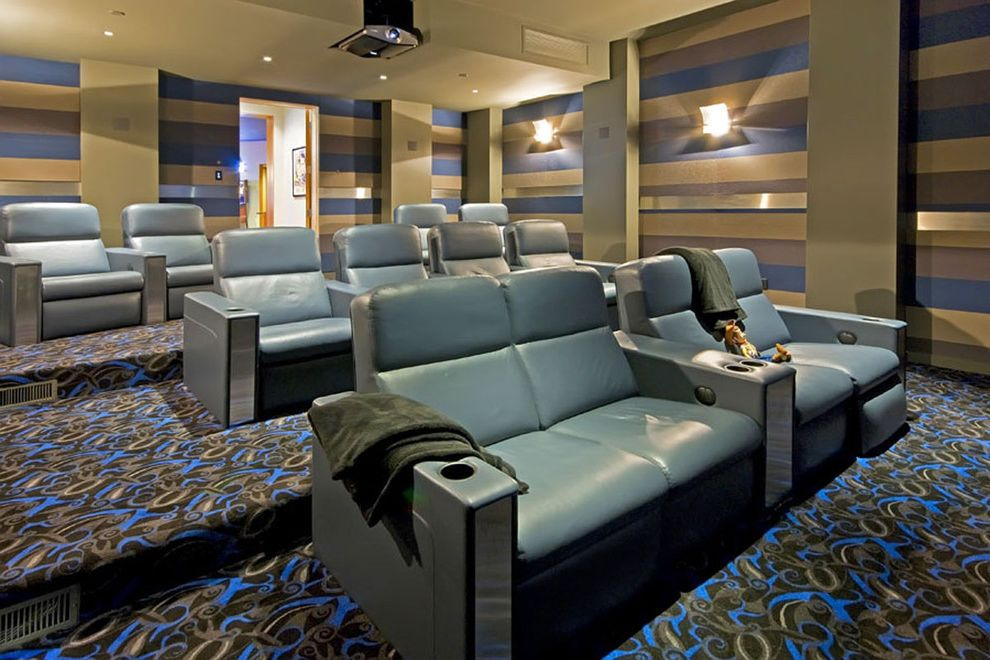 Majestic Theater Seating with Contemporary Home Theater and Colorful Carpet Pattern Home Theater Projector Recliner Chairs Screening Room Striped Walls Wall Lighting