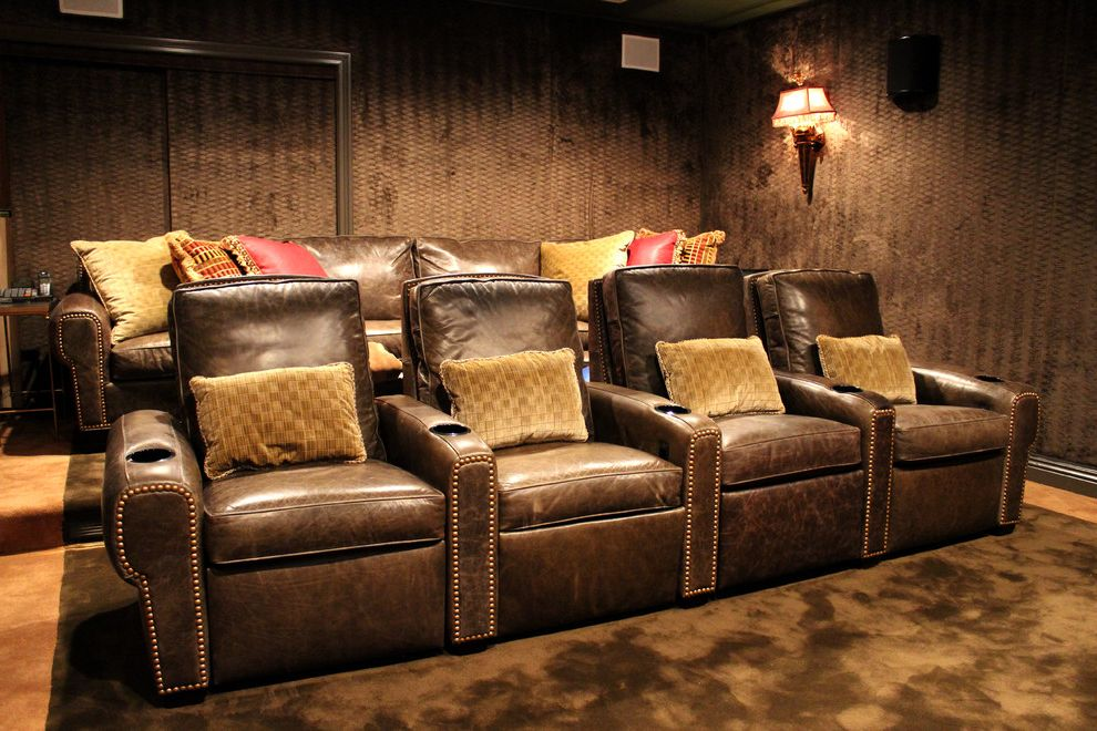 Majestic Theater Seating with Traditional Home Theater and Dedicated Home Theater Home Automation Home Cinema Home Theater Home Theater Seating Leather Recliners Media Room Nailhead Trim Stadium Seating Upholstered Walls