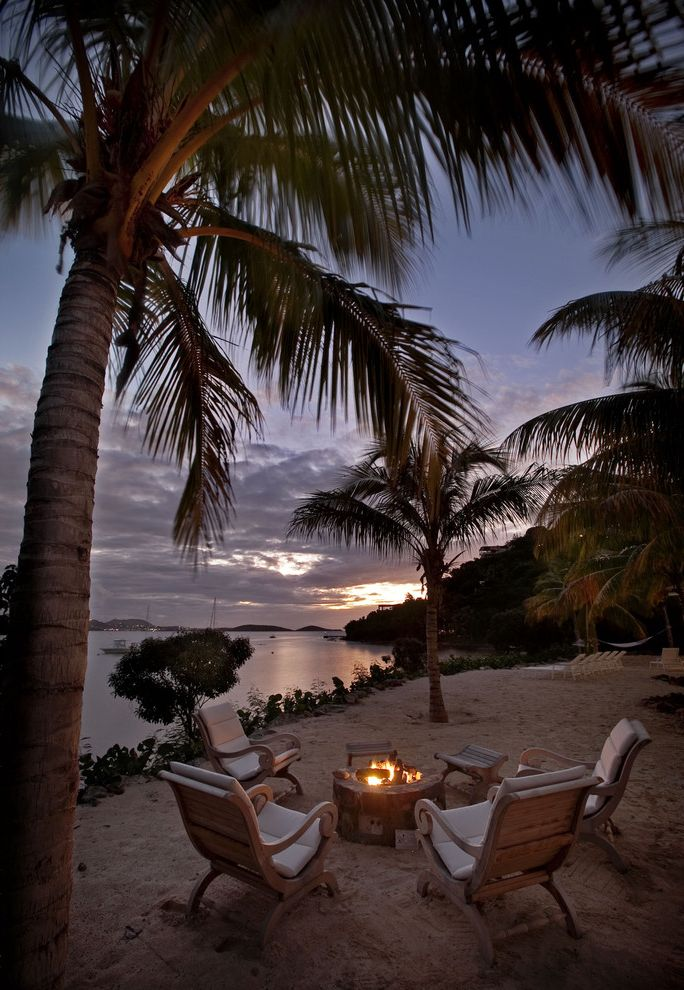 Manhattan Beach Plumber   Tropical Landscape Also Beach Coastal Fire Pit Garden Furniture Outdoor Firepit Palm Trees Patio Furniture Resort Sand Tiki View Waterfront