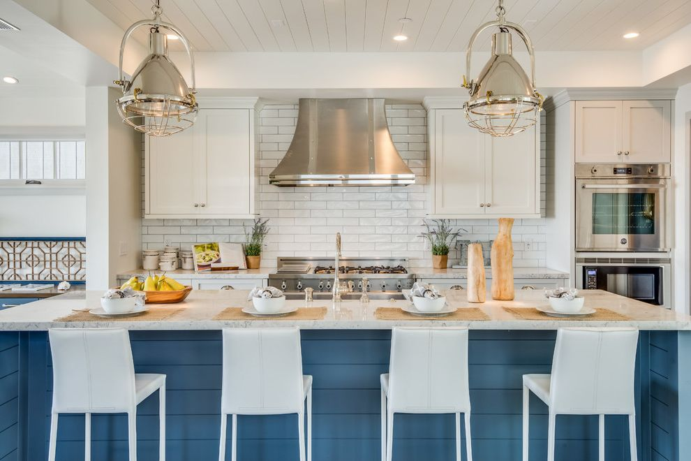 Manhattan Beach Plumber with Beach Style Kitchen  and Beach House Blue Painted Island Calm Coastal Plantation Cool Colors Hermosa Beach Industrial Pendant Light Tranquil Vent Hood White Counter Stools White Paneled Ceiling