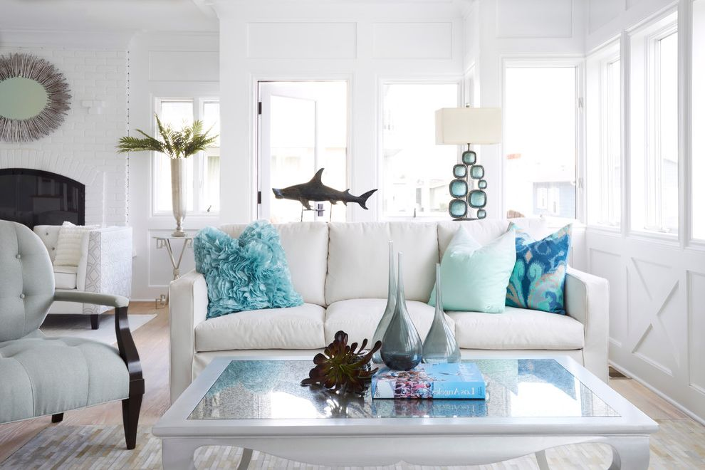 Manhattan Beach Plumber with Beach Style Living Room  and Beach Glam Blue Pillows Contemporary Coastal Custom Furniture Glamour Modern Beach Regency Rug Slipcover Sofa Tufted Chair White Sofa White Wall Paneling