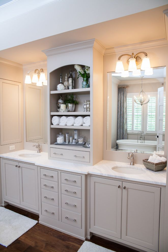 Manhattan Center for Kitchen and Bath with Farmhouse Bathroom Also Bathroom Lighting Beige Bathroom Cabinets Beige Bathroom Vanity Beige Wall Dark Wood Floor Double Bathroom Mirror Double Bathroom Sink Double Bathroom Vanity Open Shelves Open Shelving
