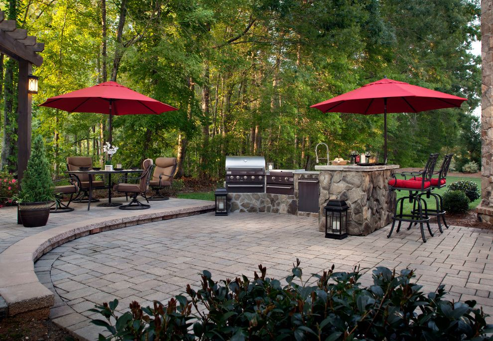 Market Umbrella Clearance with Traditional Patio Also Covered Grill Grass Lawn Outdoor Dining Outdoor Kitchen Patio Furniture Pavers Red Umbrellas Trees