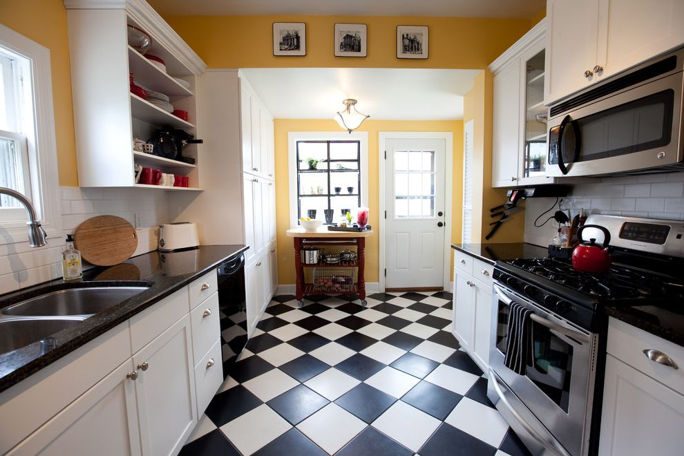 Marleys Kitchen with Traditional Kitchen  and Checkerboard Tiles Diamond Drawer Pulls Granite Open Shelving Subway Tiles Undermount Sink White Cabinets Yellow