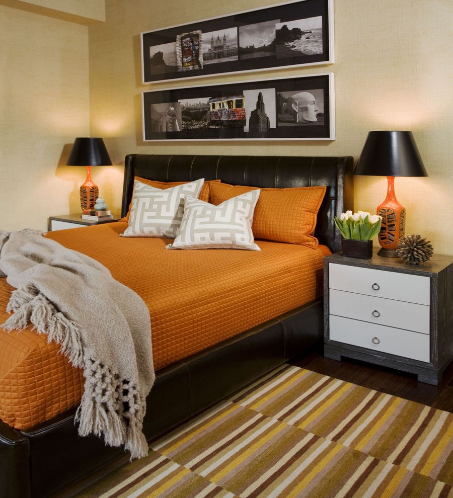 Masculine Bed Frames with Eclectic Bedroom  and Art Black Lampshade Bungalow 5 Nightstand Grasscloth Leather Headboard Masculine Orange Bedspread Orange Table Lamp Photography Quilted Striped Rug Throw