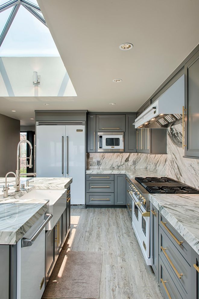 Matte Appliances   Transitional Kitchen Also Bar Pulls Recessed Lighting Skylight Striped Stone White Oven