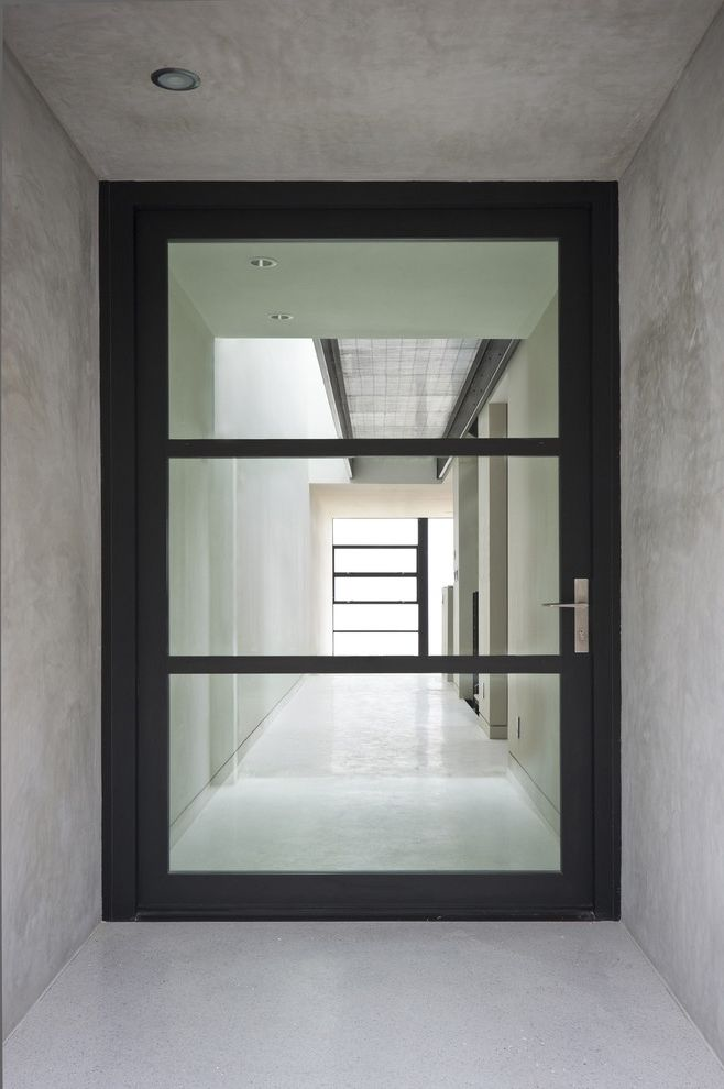 Matte Black Door Handles   Modern Entry Also Black Concrete Glass Ceiling Glass Door Hall Large Door Minimal Recessed Lights