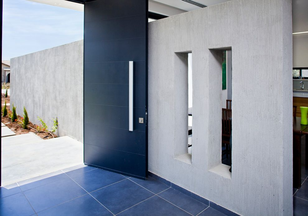 Matte Black Door Handles with Modern Entry  and Black Door Concrete Wall Contemporary Large Handle Open Windows Slate Gray Floor