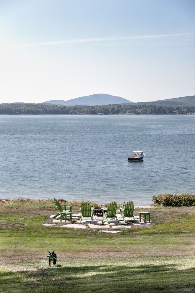Matthews Specialty Vehicles   Beach Style Landscape Also Adirondack Chairs Fire Pit Lake Front Lobster Boat Stone Pavers Water View