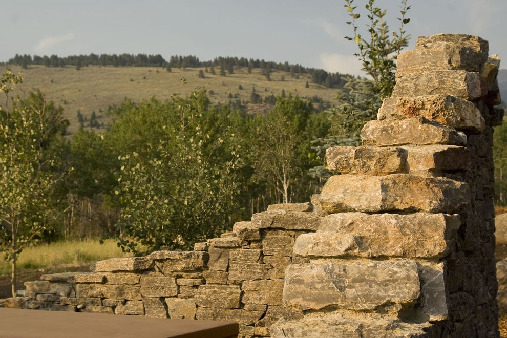 Mcallister Construction   Traditional Landscape  and Hot Tub Landscape Landscape Contractors Montana Native Landscape Privacy Wall Stone Wall Wagner Company