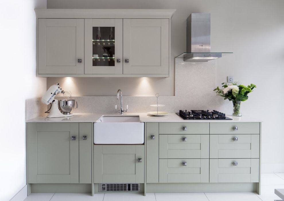 Mccalls Heating and Air   Contemporary Kitchen  and Backsplash Belfast Sink Butler Sink Cooktop Glass Front Cabinet Kitchenaid Sage Sage Cabinets Sage Green Splashback