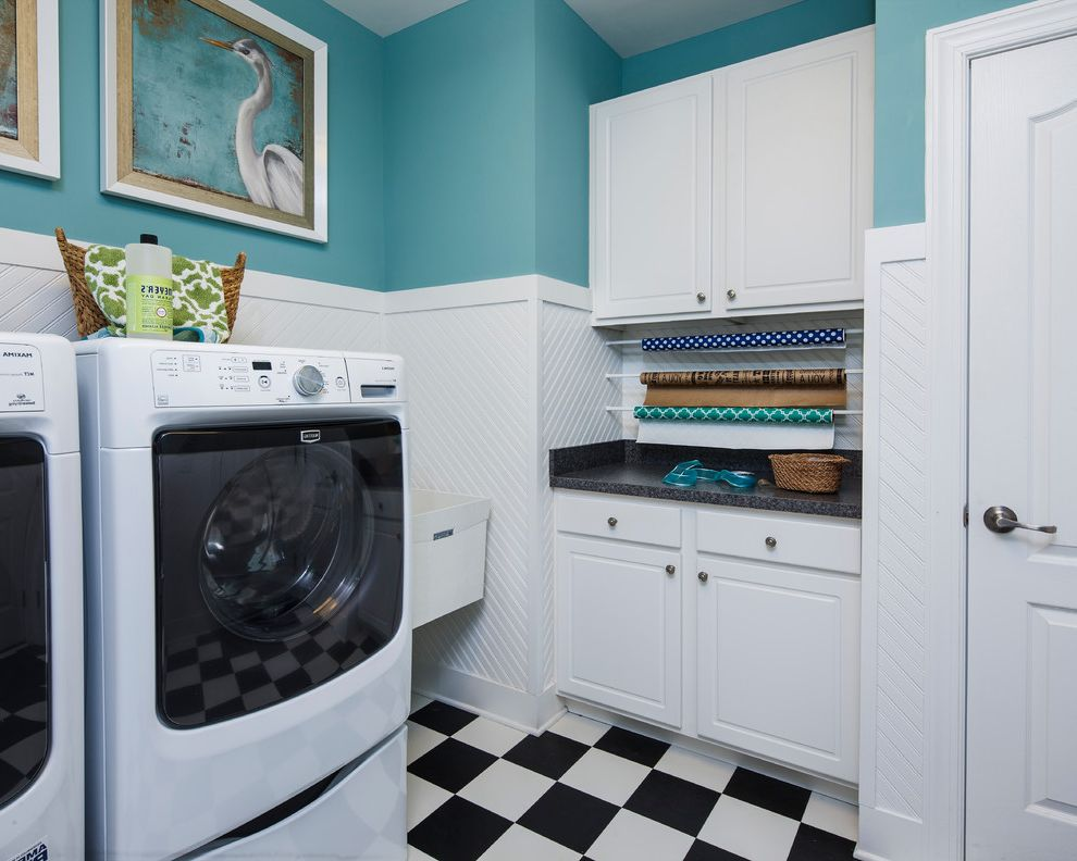 Mckee Builders   Beach Style Laundry Room Also Black and White Floor Checkerboard Floor Framed Artwork Giftwrap White Wainscoting