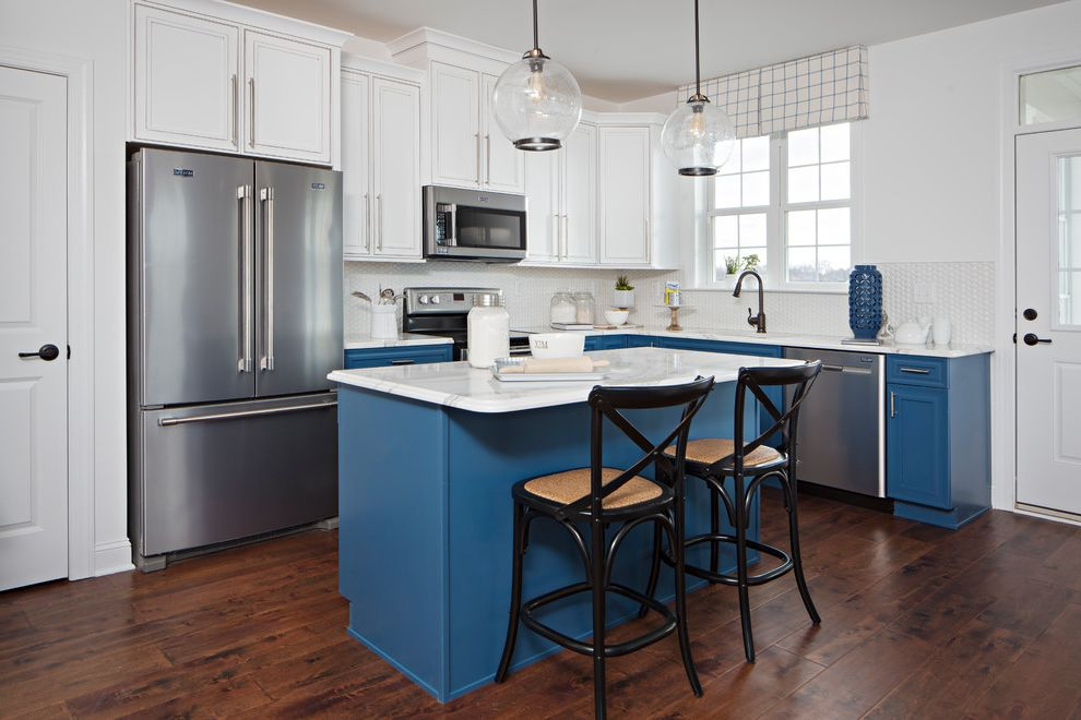 Mckee Builders   Traditional Kitchen  and Blue Painted Island Bright Casual Elegance Classic Clear Pendant Light Counter Stools Maryland Two Toned Cabinetry Valance Window Over Sink