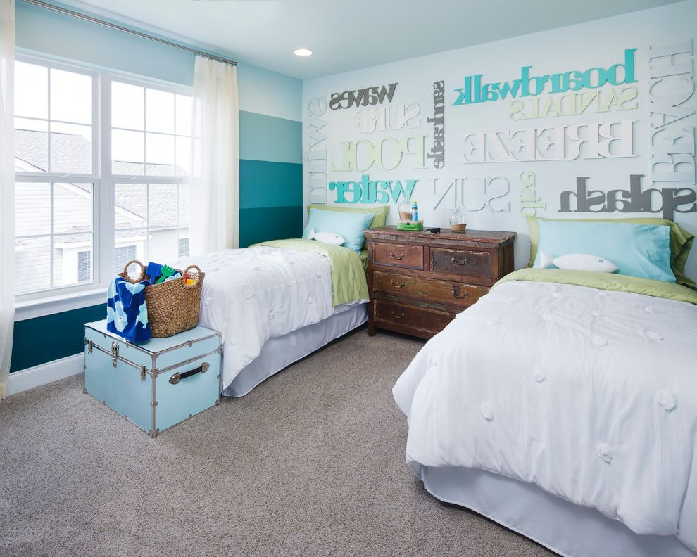 Mckee Builders with Beach Style Bedroom Also Blue Trunks Distressed Wood Dresser Fish Pillow Gray Carpet Ombre Wall Striped Wall Typography White Bedding White Curtains