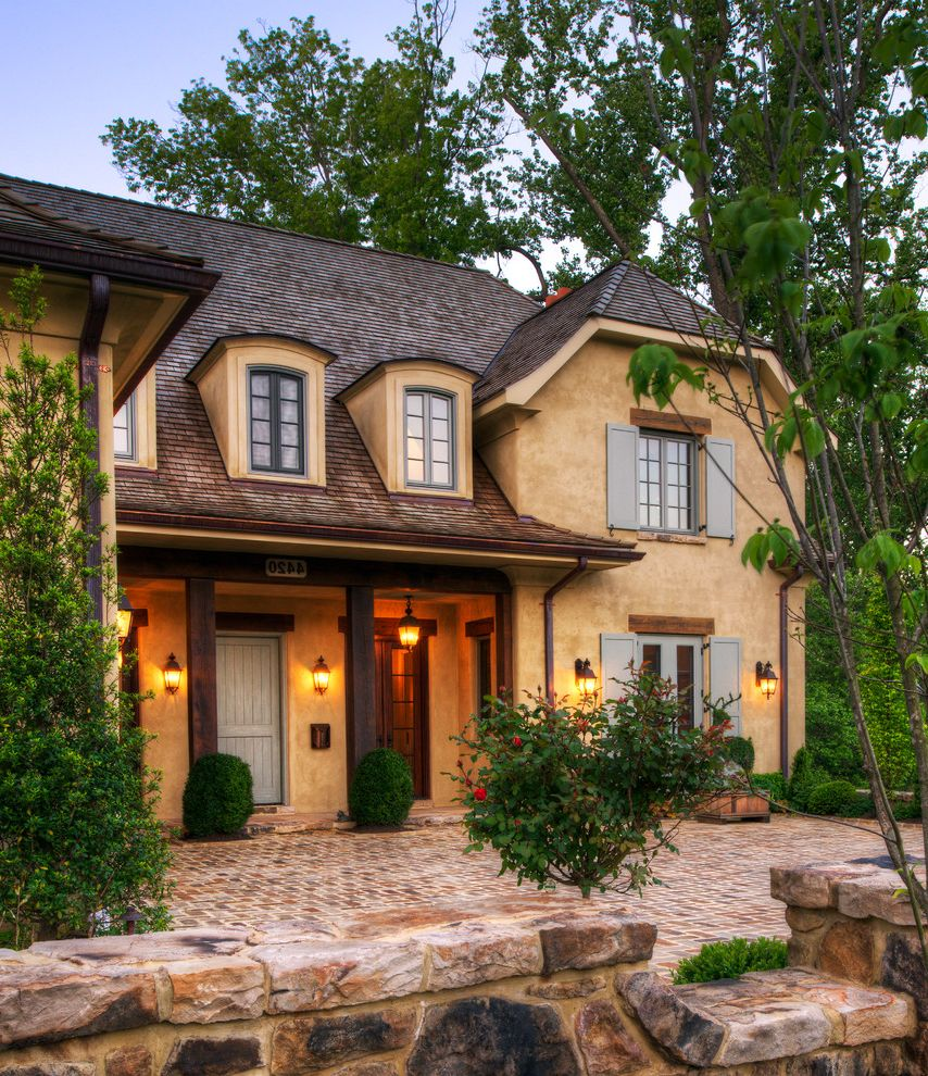 Mckelvey Homes   Mediterranean Exterior Also Beams Belvedere Tower Cobble Stone Courtyard Dordogne Dormer Windows Entry Low Swooping Roof Natural Stucco Normandy Reclaimed Barn Lintel Reclaimed Wood Porch Column Rural French Architecture Wood Roofing