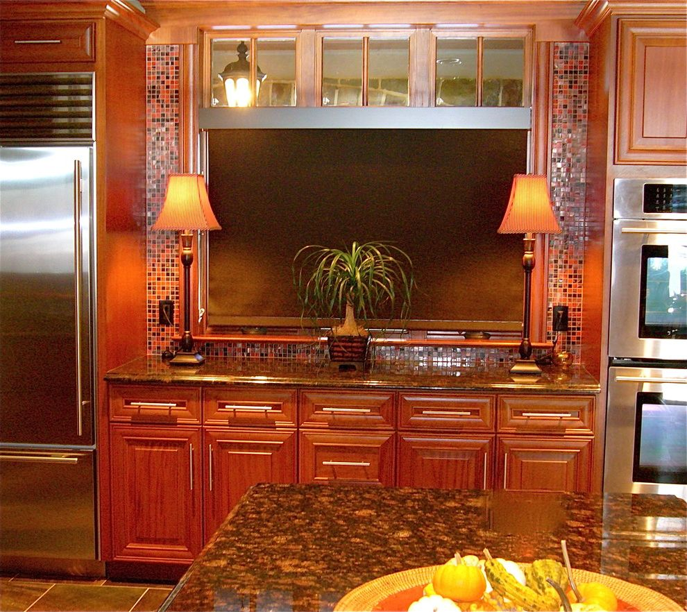 Mecho Shades   Mediterranean Kitchen Also Cherry Cabinetry Granite Counter Kitchen Solar Shades Stainless Steel Appliances Table Lamps Tile Backsplash Tile Floor
