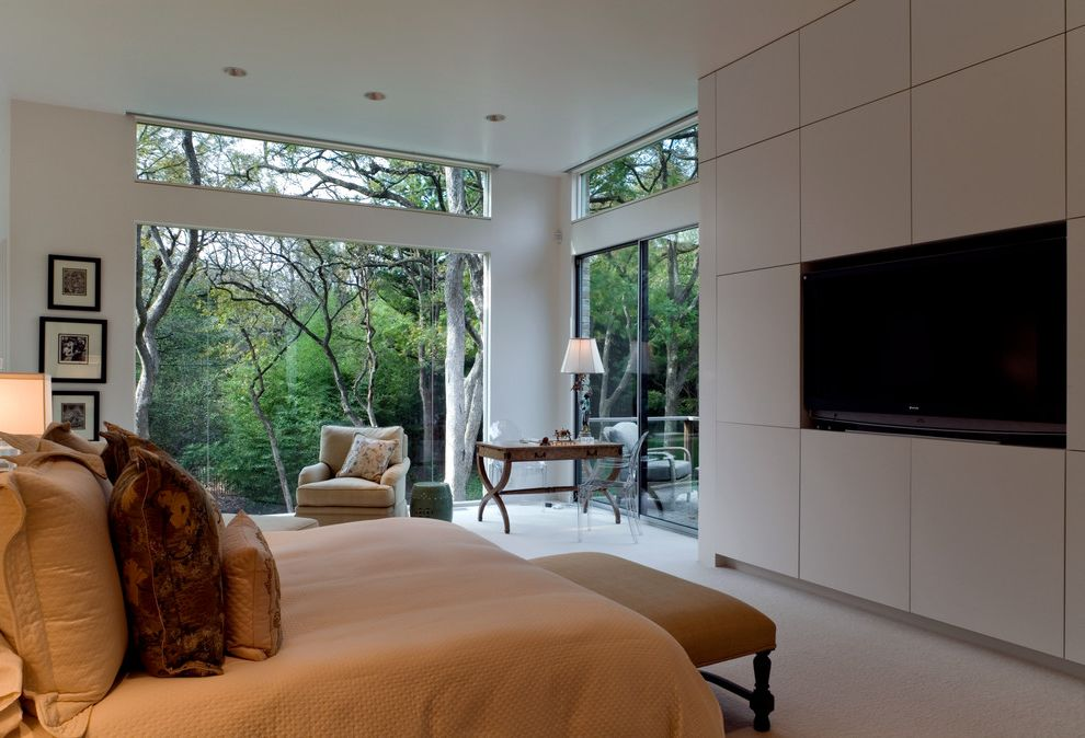Mecho Shades   Midcentury Bedroom  and Acrylic Chair Bed Bedroom Bench Brick Clerestory Window Glass House Modern Wall Mounted Tv White Wall