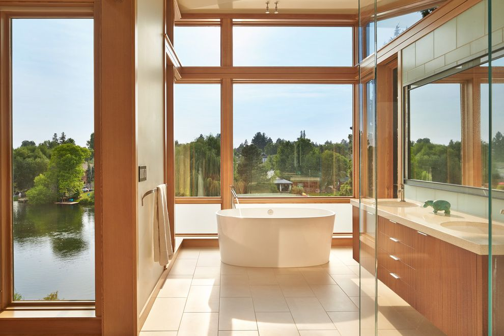 Mecho Shades   Modern Bathroom Also Bath with Glass Walls Bath with View Courtyard House Crafted Modern Crafted Modernism Glass Bathroom Large Windows Modern Courtyard House Modern River House Modern Wood Tub with View