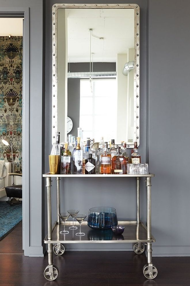 Media Cart on Wheels with Industrial Home Bar Also Bar Cart Condo Drinks Cabinet Drinks Cart Drinks Trolley Framed Mirror Home Bar Loft Toronto