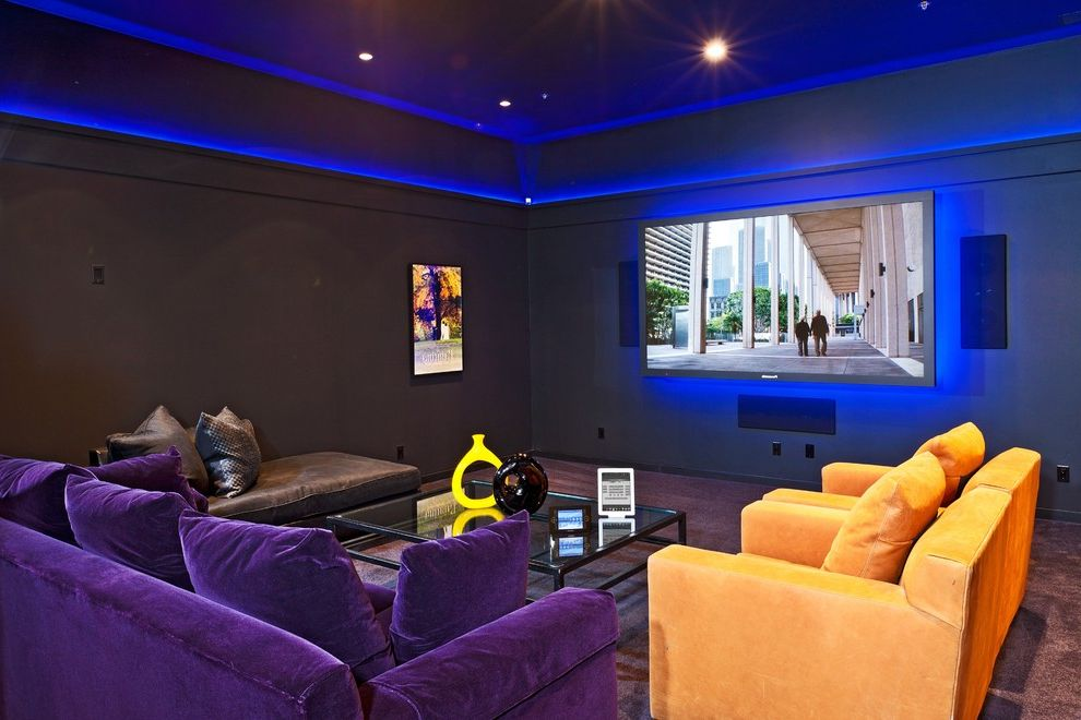 Media Companies in Atlanta   Eclectic Home Theater  and Blue Light Conference Room Audio Video Cove Lighting Crestron Control Glass Top Coffee Table Ipad Control Media Room Plasma Tv Purple Velvet Recessed Lights Surround Sound System Yellow Velvet
