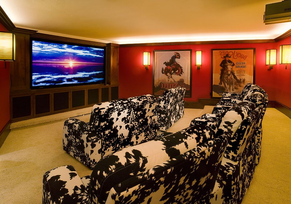 Media Companies in Atlanta with Rustic Home Theater Also Animal Print Armchair Art Chair Red Red Wall White Carpet