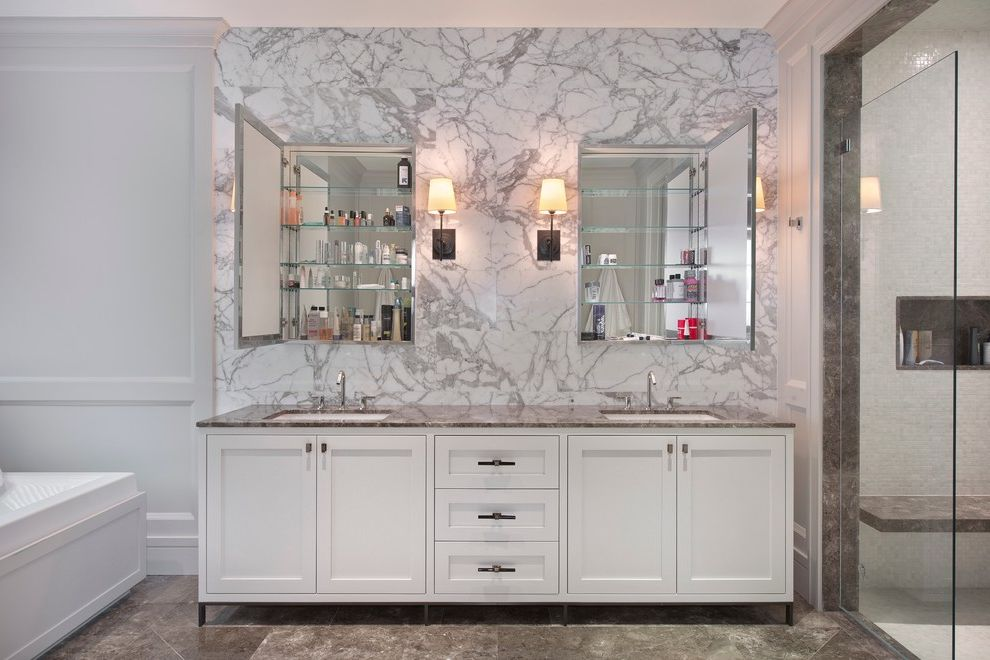 Medicine Cabinets for Sale   Contemporary Bathroom  and Bathroom Storage Double Medicine Cabinets Double Sinks Glass Shower Door His and Hers Marble Backsplash Neutral Colors Sconce Shaker Panel Tile Floor Vanity White Wall