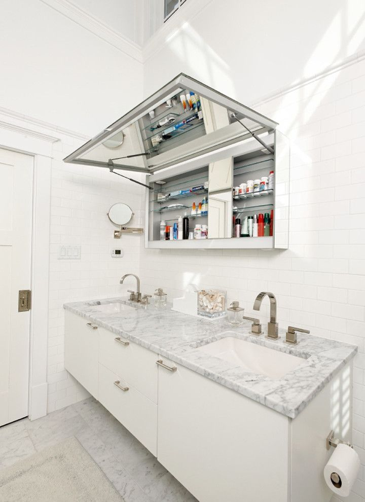 Medicine Cabinets for Sale   Contemporary Bathroom  and Clerestory Windows Double Sink Floating Vanity Flush Cabinets Glass Shower Enclosure Marble Tub Deck Mirror Mirror Cabinet Soaking Tub Subway Tile Tall Ceiling Tile Floor Tile Wall White Shutters