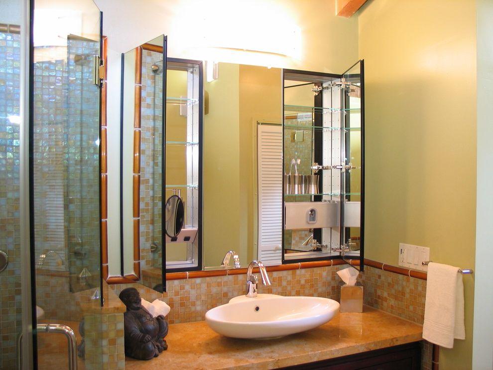 Medicine Cabinets for Sale with Asian Bathroom  and Bathroom Mirror Buddha Statue Built Ins Frameless Shower Glass Shower Medicine Cabinets Mosaic Tiles Sconce Tile Backsplash Towel Racks Vessel Sink Wall Lighting
