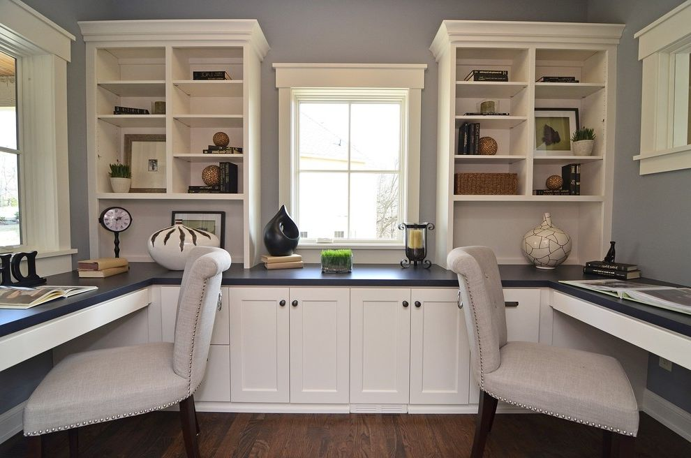 Melamine Desk Top   Traditional Home Office Also Built in Desk Built in Storage Dark Floor Gray Walls Shared Workspace Study Nook White Cabinets White Trim Window Casing Wood Flooring