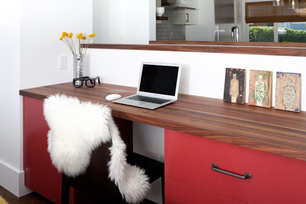 Melamine Desk Top with Midcentury Home Office  and Floral Arrangement Minimal Red Desk Sheepskin Rug Tanker Desk Wood Countertops
