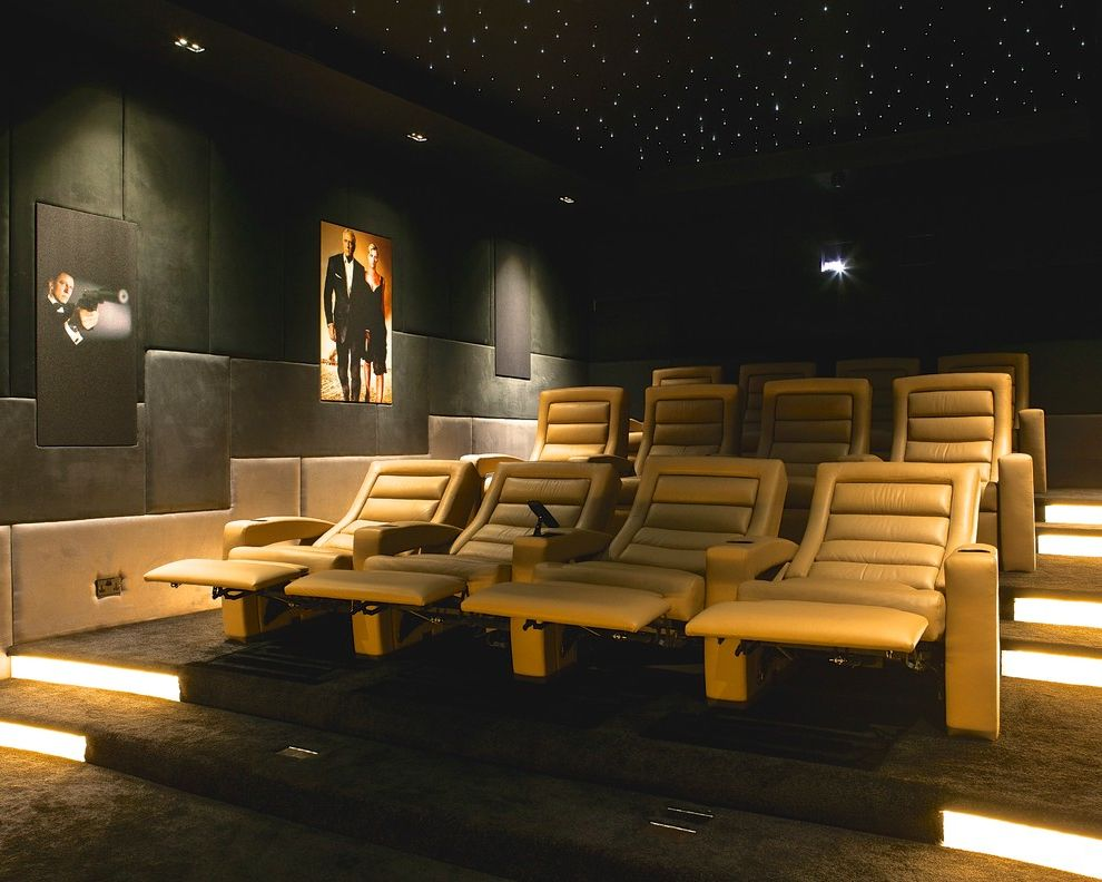Menomonee Falls Theater   Contemporary Home Theater Also Art Lighting Ceiling Lighting Cinema Chair Floor Lighting Home Cinema James Bond Leather Leather Chair Movie Posters Prints and Posters Projector Recliner Chair